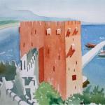 Alanya der rote Turm 1990 Aquarell auf Bütten