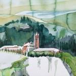 Assisi Monte Olivetto maggiore - 9.2011 - Aquarell auf Bütten 50x35cm