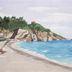 Avlakia Strand Samos 1986 Aquarell auf Bütten