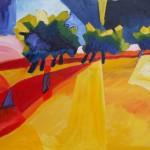 Baumgruppen am Weg Öl auf Leinwand 2005