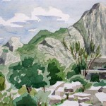 Bergwelt_bei_Termessos_1988_Aquarell_auf_Buetten_25x36cm