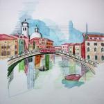 Brücke Ponte Scalci Venedig 2005 Aquarellund Buntstifte