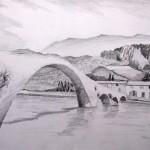 Brücke Kroatien Bleistift 1992