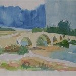 Brücke über den Eurymedon 1988 Aquarell auf Bütten