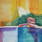 Castello Venezia 2006 Aquarell mit Buntstiften 30x40-cm