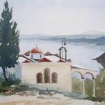 Chalkidike Haus an der Küste 1987 Aquarell auf Bütten