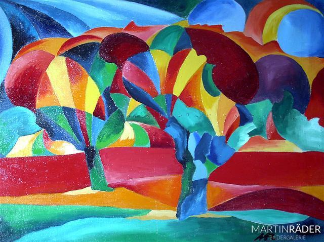 Die Sonne in den Weiden auf Hombroich 1991 - Öl auf Leinwand