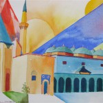 Esferoglu Moschee Beysehir Anatolien 1990 Aquarell auf Bütten 24x32cm