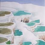 Kalksinterterrassen Pamukkale Türkei 1988 Aquarell auf Bütten 24x32cm