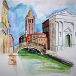 Kirche San Barnaba Venedig Aquarell und Buntstifte 2005