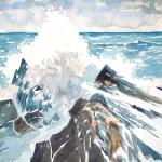 Klippen in der Brandung 1987 Aquarell