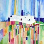 Kloster Agios Nikolaos Firostefani Santorini 2009-Sept Aquarell auf Bütten 24x32cm