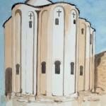 Kroatien Kirche 1977 Aquarell auf Bütten 21x23cm