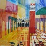 Marcusplatz mit San Marco und Campanile Venezia 2005 Aquarell-auf Bütten 23x30-cm