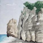 Meeresküste Samos 1986 Aquarell auf Bütten