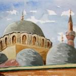 Mehmet Pascha Moschee Antalya 1988 Aquarell auf Bütten 24x32cm