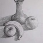 Obst und Krug Stilleben Bleistift 1992