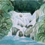 Plitvice Wasserfälle 1977 Aquarell auf Bütten 24x32cm