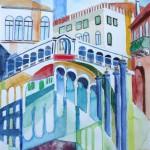 Ponte Rialto Venedig 2005 Aquarell und Buntstifte auf Bütten 24x32cm