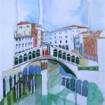 Ponte Rialto Venezia 2005 Aquarell Buntstifte Zeichenstift 24x32cm