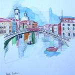 Ponte Scalci Canale Grande Venezia 2005 Aquarell und Buntstifte auf Bütten 22x28cm