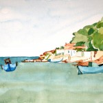 Samos Hafen Ireon 1983 Aquarell