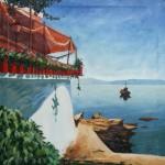 Samos Taverne am Hafen 1986 Öl auf Leinwand