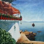 Samos Taverne am Hafen 1986 - Öl auf Leinwand