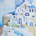 Santorini die Schöne I 2008 Aquarell auf Buetten 24x32cm