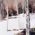 Schneefeld mit 2 Birken - Aug 2012 - Aquarell auf Bütten-35x60cm
