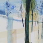 Schneefelder mit Bäumen im Winter - Aug 2012 - Aquarell  auf Bütten 38x60cm