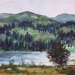 Seenlandschaft 1986 Aquarell auf Bütten 23x34cm