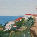 Skopelos Küstenblick 1980 Aquarell auf Bütten