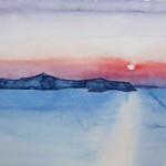 Sonnenuntergang über Thirassia Santorin 2008 Aquarell auf Bütten 24x32cm