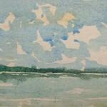 Starnberger See 1982 Aquarell auf Bütten 12,5x18,5cm
