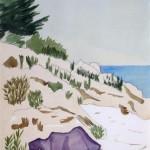 Strandszene Kroatien 1977 - Aquarell auf Bütten