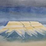 Tafelberg zwischen Avanas und uerguep 1990 Aquarell auf Bütten 24x32cm