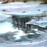 Teich im Winter 1987 Aquarell 2