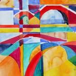 Viele Brücken 2007 Acryl und Aquarell 24x32 cm