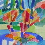 Weiden am Erftufer Museumsinsel Hombroich 1990 Aquarell auf Bütten 19,5x24cm