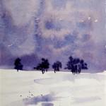 Winterlandschaft III 1993 Aquarell auf Bütten 16,5x24cm