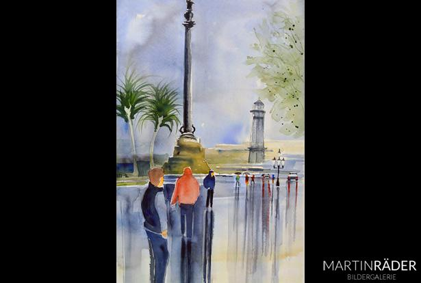 Rainy Day in Barcelona Monument a Colom - Juli 2017 - Aquarell auf Bütten