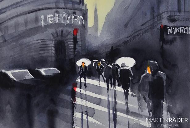 Nasse Wege Urban Scenes 8 2016 Aquarell auf Bütten