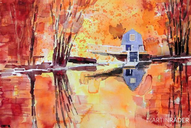 Oktober glühend Jan.2013 - Aquarell auf Bütten