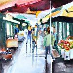 Wien Naschmarkt Serie Nr. 3 - Aquarell auf Bütten
