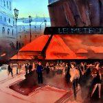 Cafe Metro Paris - Hommage an Alvaro Castagnet: Aquarell auf Bütten