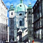 Wien Peterskirche 8 2016 Aquarell auf Bütten 30x40 cm
