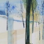 Schneefelder mit Bäumen im Winter Aug.2012 - Aquarell auf Bütten