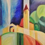 Kirche bei Falera CH 2013 - Öl auf Leinwand