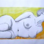 Akt Bleistift - Aquarell 1993